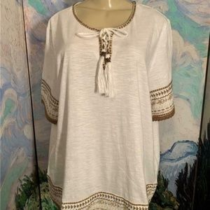 Roaman's White Embroidered Lace-Up Neck Tunic Top